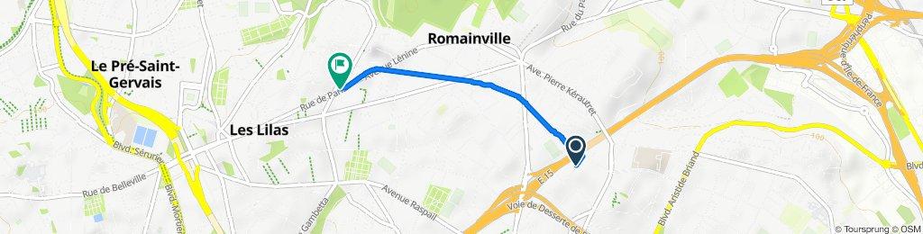 De 1 Rue du Chemin Vert, Romainville à 196 Place de Volklingen, Les Lilas