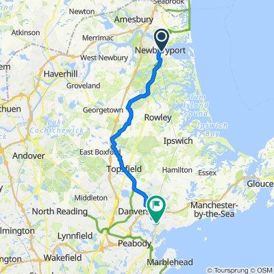 60–84 Pleasant St, Newburyport to 24 Beckford St, Beverly