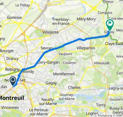 De Avenue Pierre Kerautret 120, Romainville à Rue Saint-Denis 13, Gressy
