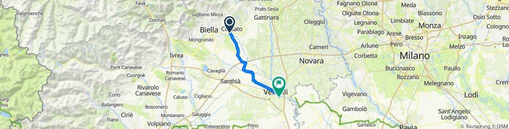 Da Via Giovanni Amendola 393, Cossato a Via Thaon de Revel 51, Vercelli