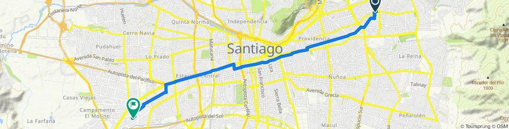 De Avenida Cristóbal Colón 5850, Las Condes a Guinea 3426, Maipú
