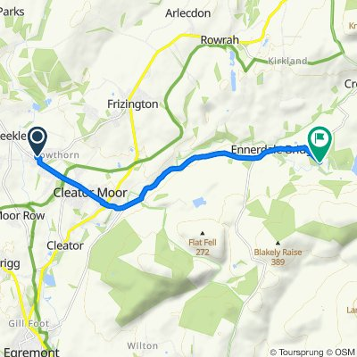 Route from 109 Mill Hill, Cleator Moor