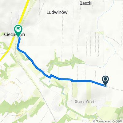 Koncpecja szlaku stacja PKP Ciecierzyn-szl. niebieski