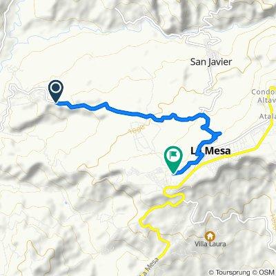 Ruta desde La Mesa - San Joaquín, La Mesa