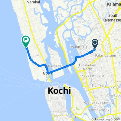 North Vellakkada Parambu Lane, Kochi to Unnamed Road, Kochi
