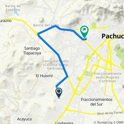 Ruta a Calle Arrayán 124, Pachuca de Soto