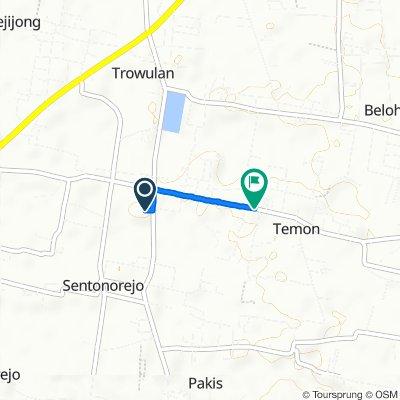 Jalan Pendopo Agung No.7, Kecamatan Trowulan to Jalan Trowulan-Jatirejo, Kecamatan Trowulan