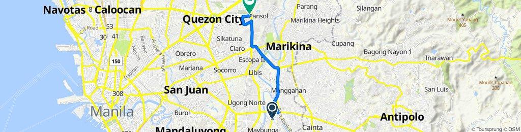 C. Raymundo Avenue 102, Pasig to Diliman, Quezon City