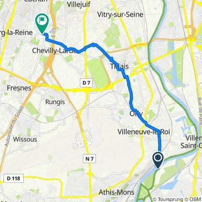 De Passerelle de l'Écluse d'Ablon, Vigneux-sur-Seine à Rue Jean Jaurès, L'Haÿ-les-Roses
