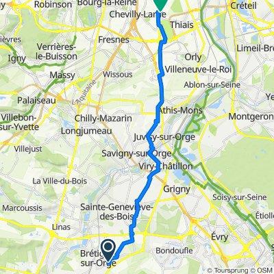 De Rue Nungesser et Coli 13, Brétigny-sur-Orge à Rue du Moulin Vert 16, Vitry-sur-Seine