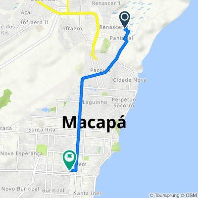 De Avenida Maria Nunes, 46, Macapá a Avenida Felipe Camarão, 1084, Macapá