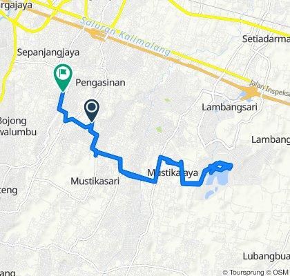 Jalan Cipete Raya 123, Kecamatan Mustika Jaya to Jalan Narogong Permai IC No.68b, Kecamatan Rawalumbu