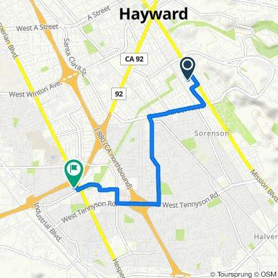 25441 Mission Blvd, Hayward to 2236 Tallahassee St, Hayward