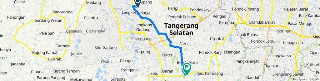 Jalan P. Katelia VI 15, Kecamatan Serpong Utara to Jalan Samba 77, Kecamatan Pamulang