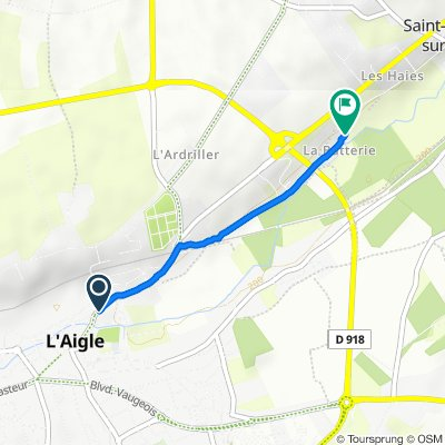 De 6–10 Rue Guillaume le Conquérant, L'Aigle à 95–123 Chemin de la Batterie, Saint-Sulpice-sur-Risle