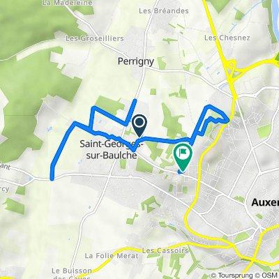 De Rue des Champs Bardeaux, Saint-Georges-sur-Baulche à 39 Allée Baron Gérard, Auxerre