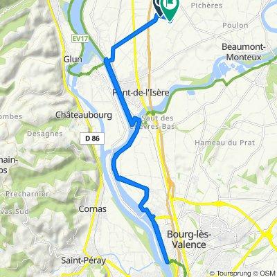 De Les Chênes Verts 105, Pont-de-l'Isère à Chemin des Blaches 255, Pont-de-l'Isère