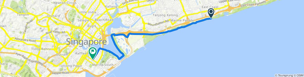 Route from 1106 East Coast Parkway, Singapore