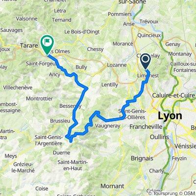 De 963 Route de Bellevue, Limonest à 9 Rue Martin Luther King, Pontcharra-sur-Turdine