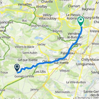 De Rocade de Beaudreville, Gif-sur-Yvette à 77 Rue Vincent Fayo, Châtenay-Malabry