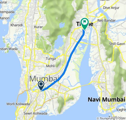 Route from Bhakti Dham Mandir Road, Mumbai