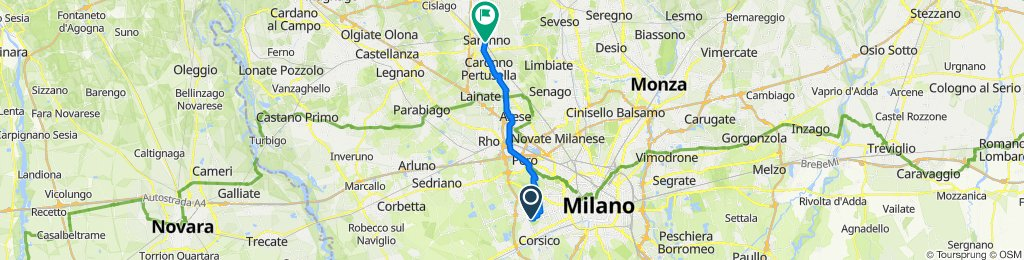 Da Via Valsesia 42, Milano a Via Giuseppe Garibaldi 48, Saronno