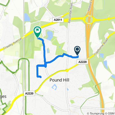 Route from 5 Payne Close, Crawley