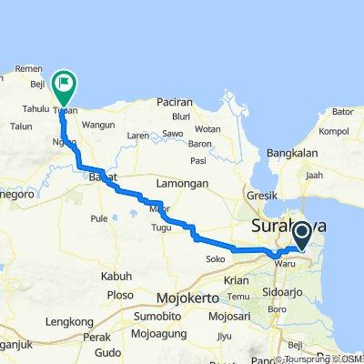 Jalan Rungkut Harapan Blok D No.5, Kecamatan Rungkut to Jalan Ronggolawe No.34, Kecamatan Tuban