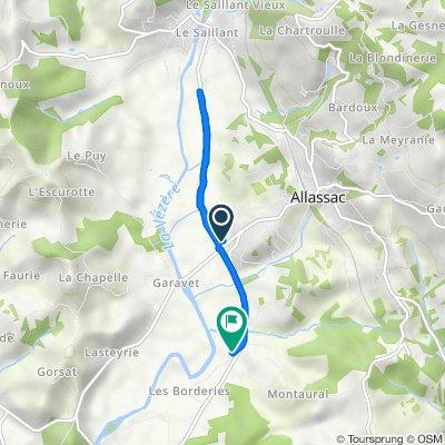 De 1825 La Rivière, Allassac à 3 Les Borderies, Allassac