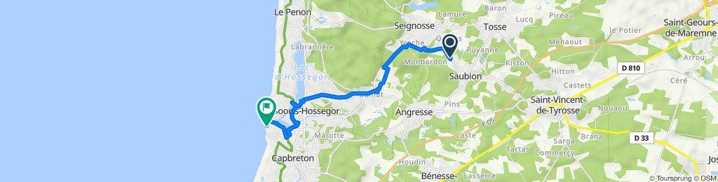 De Route de Seignosse 18, Saubion à Boulevard François Mitterrand 13, Capbreton