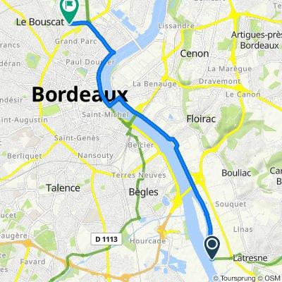 De 59 Chemin du Port de l'Homme, Latresne à 44–48 Avenue Jules Guesde, Le Bouscat