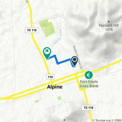 806 E Lockhart Ave, Alpine to 106 E Brown Ave, Alpine