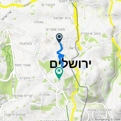 De Munbaz Street 6, Jérusalem à David Hamelech Street 26, Jérusalem