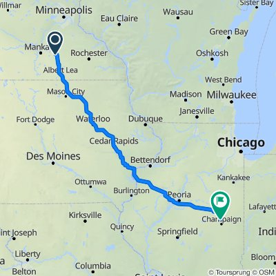 Bike Map Waseca to Champaign w camping
