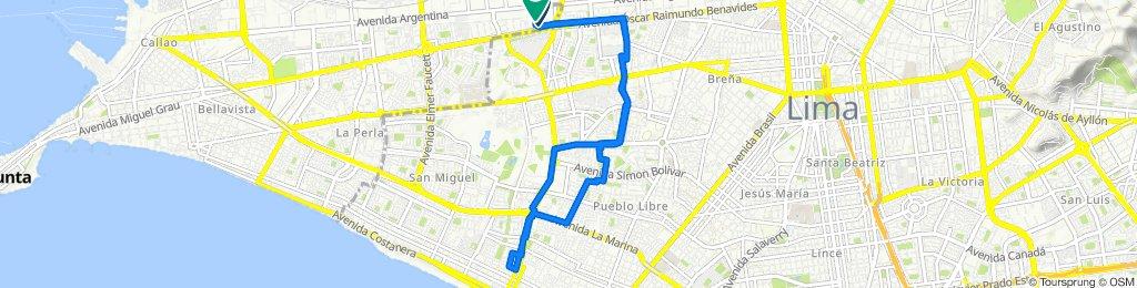 Ruta desde Avenida Óscar Raimundo Benavides, Lima