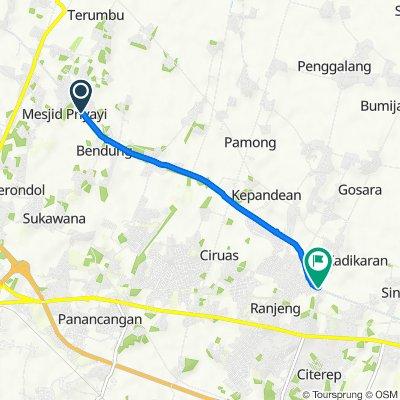 Jalan Desa Masjid Priyayi, Kecamatan Kasemen to Jalan Bumi Ciruas Permai, Kecamatan Ciruas