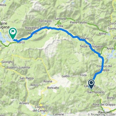 Da Via Londa 15, Valstagna a Vicolo Vetriolo 21, Levico Terme