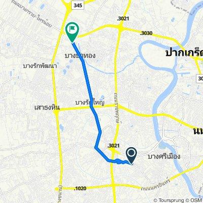 ถนน โยธาธิการ นนทบุรี สายหมู่ที่ 3-หมู่ที่ 2 12, ตำบล บางกร่าง to ถนน บางกรวย - ไทรน้อย 47/3, ตำบล บางบัวทอง