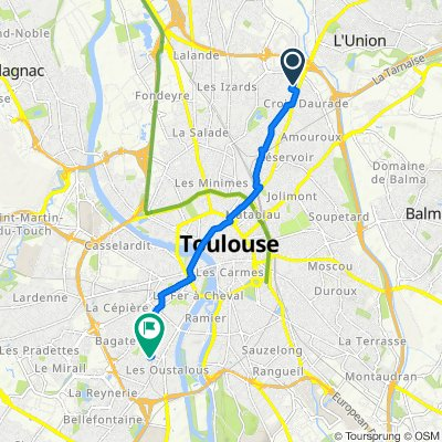 De 14 Rue du Cimetière Croix Daurade, Toulouse à 42 Rue Julien Sacaze, Toulouse
