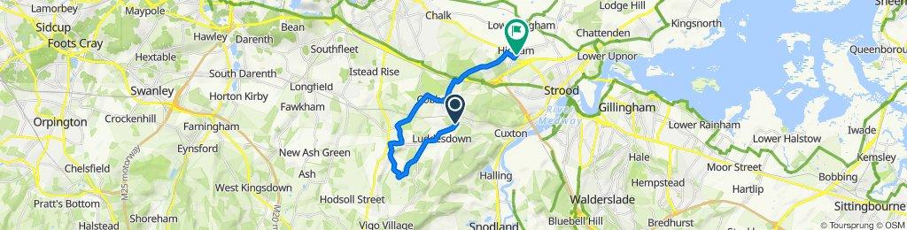 Warren Road, Luddesdown, Gravesend to 36 Telegraph Hill, Rochester