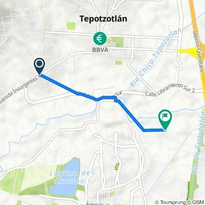 Route from Calle Aldama 9B, Tepotzotlán