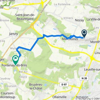 De 80 Chemin du Moulin à Vent, Montlhéry à Place de la Mairie, Fontenay-lès-Briis
