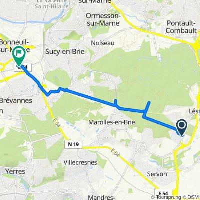 De 54 Rue du Bois de Nanteau, Lésigny à 1 Avenue du Bicentenaire 1789-1989, Bonneuil-sur-Marne