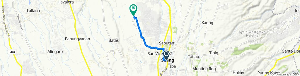 Route from Toledo, Silang