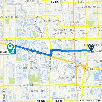 Davie Boulevard 3602, Fort Lauderdale to Southwest 13th Place 11691, Davie