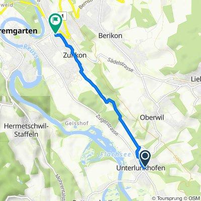 Berghofstrasse 7A, Unterlunkhofen to Sonnenhofstrasse 1, Zufikon