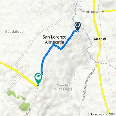 De Calle Isaac Huerta, Cuautlancingo a Calle Hermenegildo Galeana, Cuautlancingo