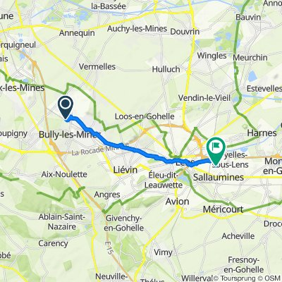 De 2 Rue Rhin et Danube, Bully-les-Mines à Avenue des Entreprises, Noyelles-sous-Lens