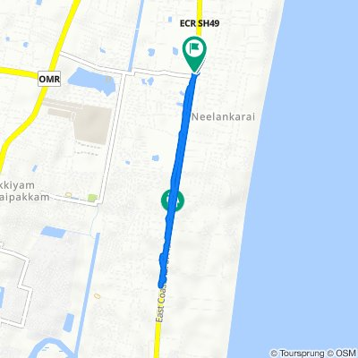 Route from 1st South Cross Street 4/3, Chennai