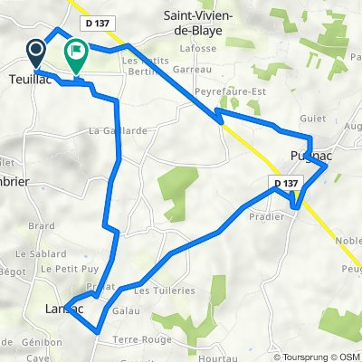 De Chemin de Bouet, Teuillac à 29 Chemin de la Fontaine, Teuillac